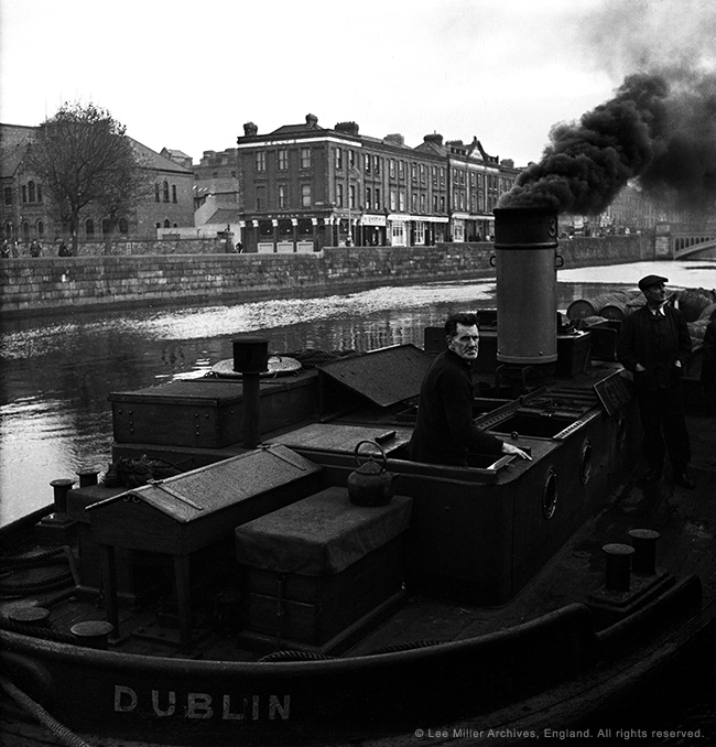 Guiness Barges on the Liffey, Dublin, Ireland, 1946, By Lee Miller 824-280A